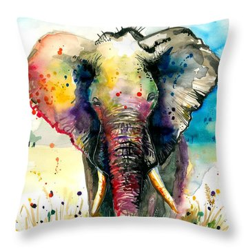 The Rainbow Elephant - Xxl Format Throw Pillow