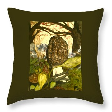 The Elusive Morel Among Violets Throw Pillow