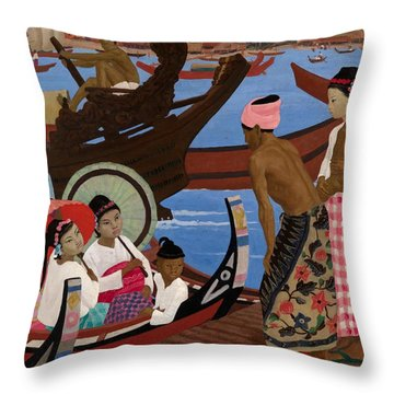 The Embarkation 1920s Throw Pillow by Ernest Procter