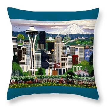 The Emerald City Seattle Throw Pillow by Jennifer Lake
