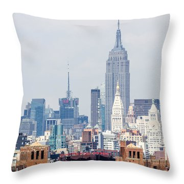 The Empire State Building From The Brooklyn Bridge Throw Pillow