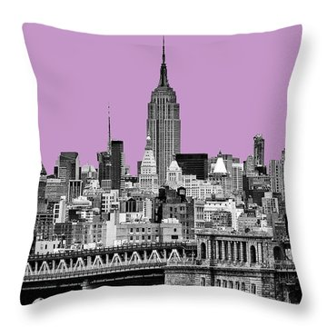 The Empire State Building Pantone African Violet Light Throw Pillow