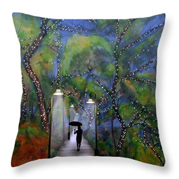 Throw Pillow featuring the digital art The Enchanted Woods by Nina Bradica