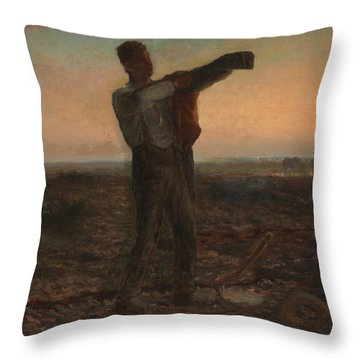 The End Of The Day Effect Of Evening  Throw Pillow by Jean-Francois Millet