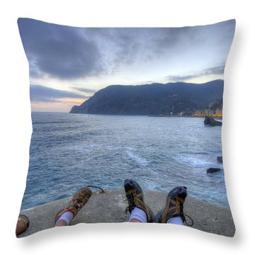 The End Of The Day In Monterosso Throw Pillow