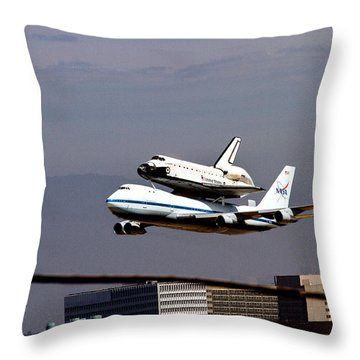 The Endeavor And Her 747 Final Landing At Lax Throw Pillow