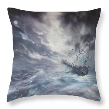 Throw Pillow featuring the painting The Endeavour On Stormy Seas by Jean Walker