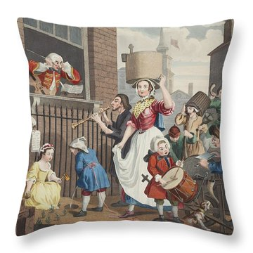The Enraged Musician, Illustration Throw Pillow by William Hogarth