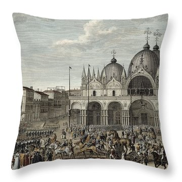 The Entry Of The French Into Venice Throw Pillow