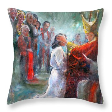 Throw Pillow featuring the painting The Episcopal Ordination Of Sierra Wilkinson by Gertrude Palmer