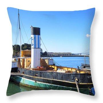 The Eppleton Hall Paddlewheel Tugboat - 1914 Throw Pillow by Daniel Hagerman