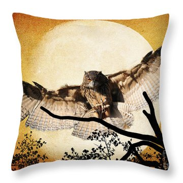 Throw Pillow featuring the photograph The Eurasian Eagle Owl And The Moon by Kathy Baccari