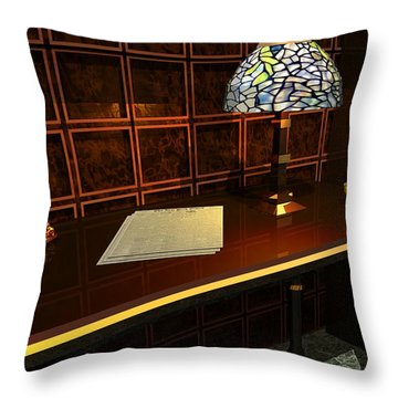 The Evening News Throw Pillow by John Pangia