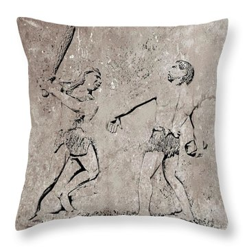 The Evolution Of Baseball Throw Pillow by John Malone