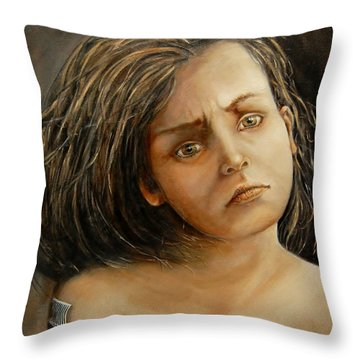 Help Me Throw Pillow by Jean Cormier