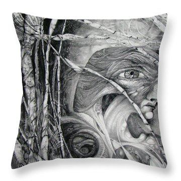 Throw Pillow featuring the drawing The Eye Of The Fomorii - Regrouping For The Battle by Otto Rapp