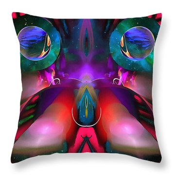 Throw Pillow featuring the digital art The Eyes Of Acuity by Mario Carini
