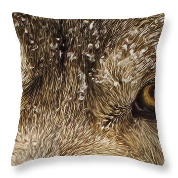 Throw Pillow featuring the photograph The Eyes Of The Wolf  by Brian Cross