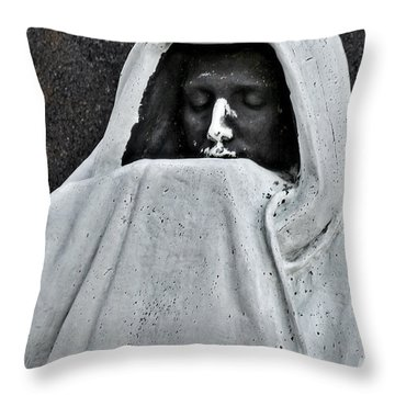 The Face Of Death - Graceland Cemetery Chicago Throw Pillow by Christine Till