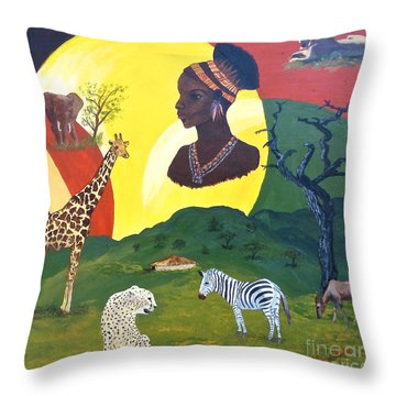 The Faces Of Africa Throw Pillow