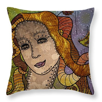 Throw Pillow featuring the digital art The Fairy Godmother by Barbara Orenya