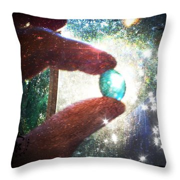 The Fairy Stone - Nature Angel  Throw Pillow by Absinthe Art By Michelle LeAnn Scott