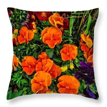 Fall Pansies Throw Pillow
