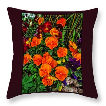 The Fall Pansies Throw Pillow