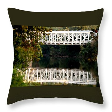 The Falls Bridge Throw Pillow by Christopher Woods