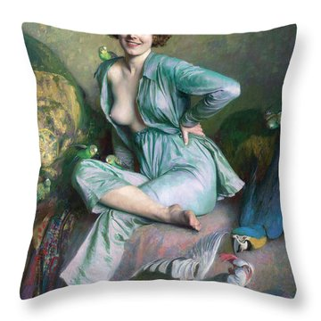 Throw Pillow featuring the painting The Familiar Birds by Emile Friant