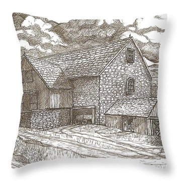 The Family Farm - Sepia Ink Throw Pillow by Carol Wisniewski