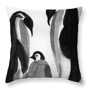 Happy Feet -the Family Of Penguins Throw Pillow