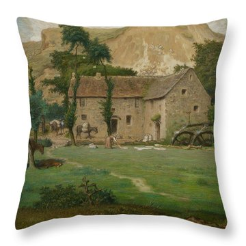 The Farm House Throw Pillow by Jean Francois Millet