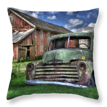 The Farm Truck Throw Pillow by Lori Deiter
