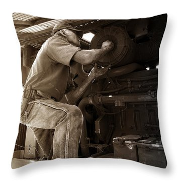 The Farmer Throw Pillow by Rebecca Davis