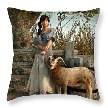 The Farmer's Daughter Throw Pillow by Daniel Eskridge
