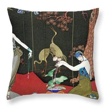 The Fashion For Lacquer Throw Pillow by Georges Barbier