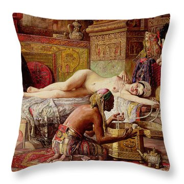 The Favorite Of The Harem Throw Pillow by Gyula Tornai