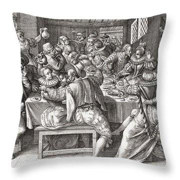 The Feast, After A 17th Century Engraving By N. De Bruyn.  From Illustrierte Sittengeschichte Vom Throw Pillow
