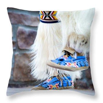 Throw Pillow featuring the photograph The Feet Of A Native American Hoop Healer 1 by Carolina Liechtenstein