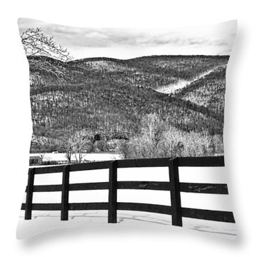 The Fenceline B W Throw Pillow