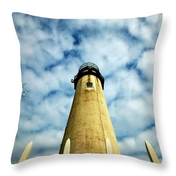 The Fenwick Light And A Mackerel Sky Throw Pillow