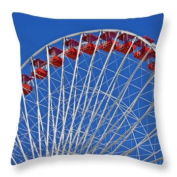 The Ferris Wheel Chicago Throw Pillow by Christine Till
