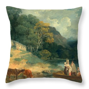 The Ferry Throw Pillow by Francis Wheatley