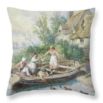 The Ferry Throw Pillow by Myles Birket Foster