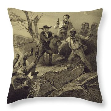 The Fight Between George And Tom Loker Throw Pillow by Adolphe Jean-Baptiste Bayot
