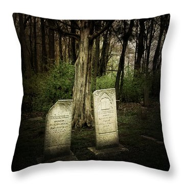The Final Resting Place Of Ambros And Brazilla Ivins Throw Pillow by Cynthia Lassiter
