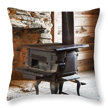 Throw Pillow featuring the photograph The Fire Stoker by B Wayne Mullins