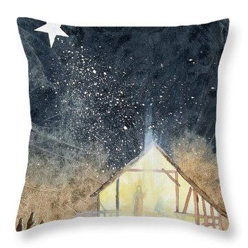 The First Christmas Throw Pillow by Jackie Mueller-Jones