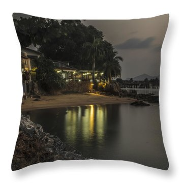 The First Evening Light Reflections Throw Pillow
